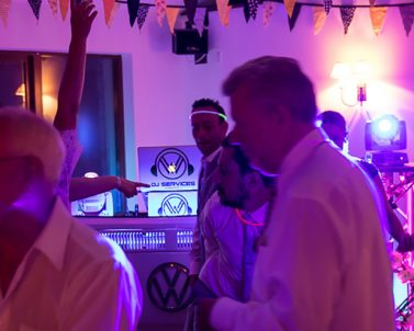 The party is hotting up with the big tunes with party DJ Cornwall.