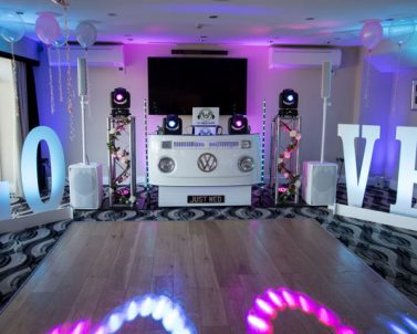 Wedding Love Letters setup with mobile DJ Cornwall proving the lighting and audio for the big celebration.