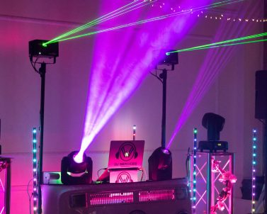The lighting set up helping get the party going with mobile dj Cornwall.