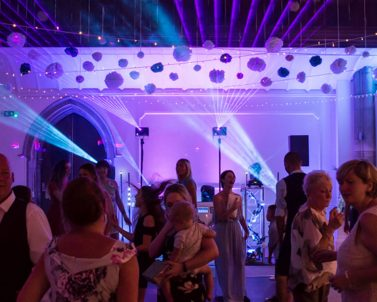 Wedding party lighting in Cornwall