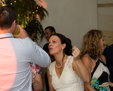 The Bride Sharon enjoying her chosen tracks played by Wedding DJ Cornwall.