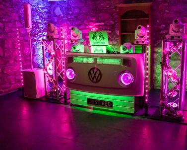 Sophisticated mood lighting for mobile DJ Cornwall