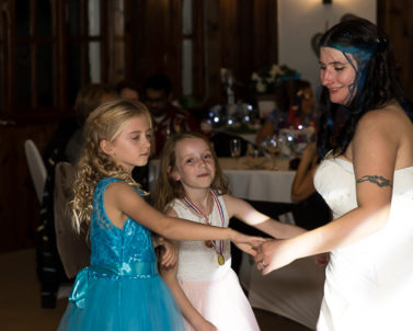 The big dance moves dancing to baby shark supplied by wedding DJ Cornwall.