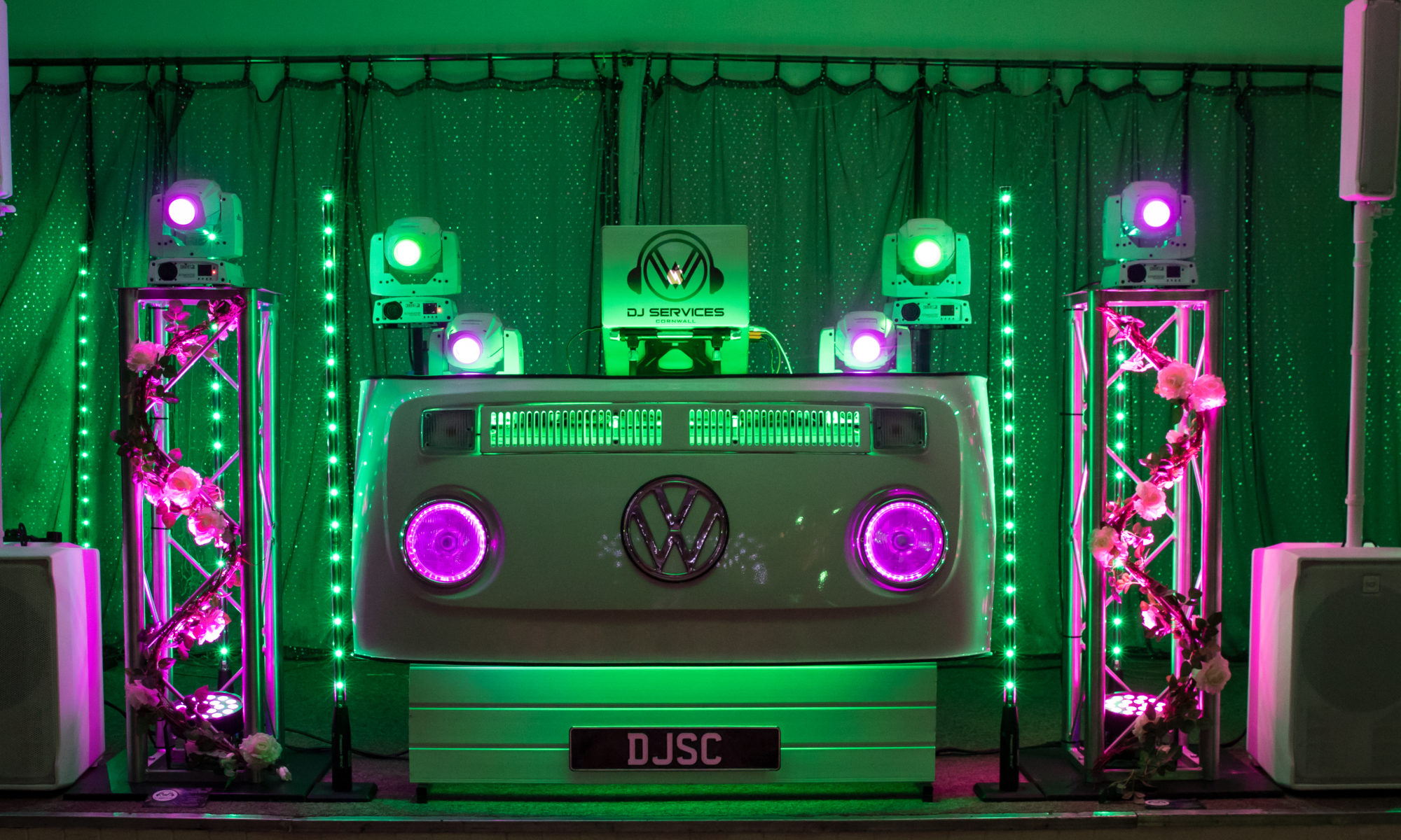 Wedding DJ Cornwall Premium Lighting ready to get the party started at Phil & Sally Wedding