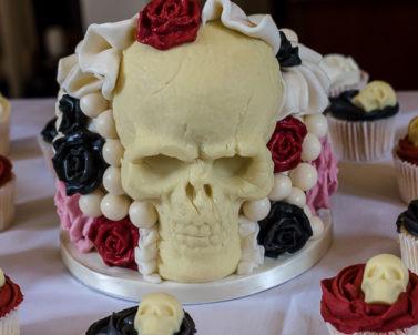 Unusual wedding cake for Greg & Gemma wedding day supplied music by Party DJ Cornwall.