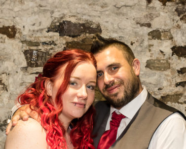 The couple big smiles enjoying the moment with Wedding DJ Cornwall in Bodmin Jail.