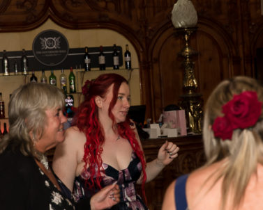 Gemma enjoying the tunes with guests and party DJ Cornwall.