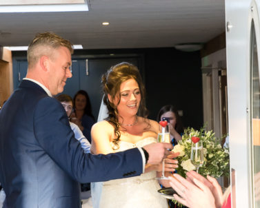 Happiness on their big wedding day with DJ Services Cornwall in readiness to get the party started with Party DJ Cornwall.