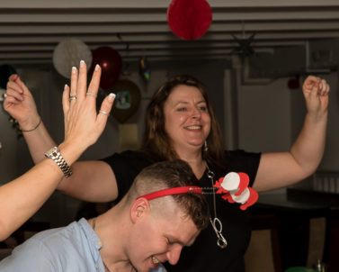Hands up for the mobile DJ Cornwall at the Xmas Party