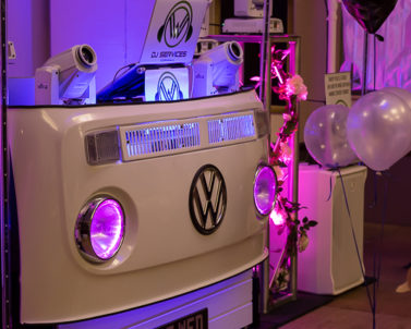 The VW DJ Booth looked stunning with its lights for Josh & Amy Wedding with Party DJ Cornwall.