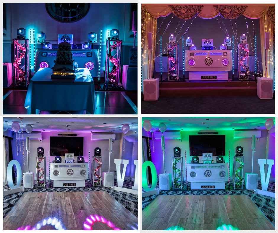 Awesome imagery of our unique VW DJ Booth with wedding DJ Cornwall.