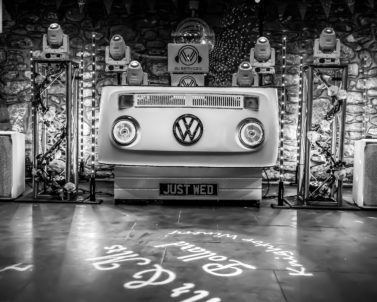 Awesome VW DJ Booth set up for Ian & Jess Wedding Party Knightor Winery with Wedding DJ Cornwall ready for the night ahead with the big party tracks.