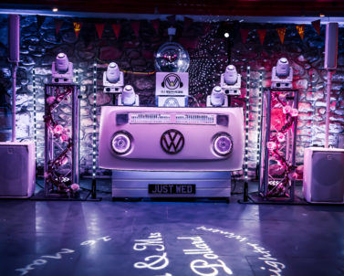 That little Je ne sais quoi with our stunning VW DJ Booth set up for Ian & Jess Wedding Party Knightor Winery with Wedding DJ Cornwall ready with the big party tracks.
