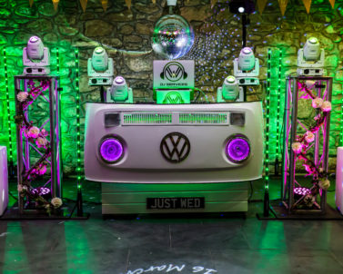 The WOW factor with our stunning VW DJ Booth set up for Ian & Jess Wedding Party Knightor Winery with Wedding DJ Cornwall at the helm with the big party tracks.