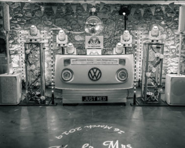 The WOW factor with our stunningVW DJ Booth set up for Ian & Jess Wedding Party Knightor Winery with Wedding DJ Cornwall