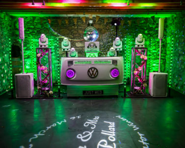 Sophisticated VW DJ Booth set up for Ian & Jess Wedding Party Knightor Winery with Wedding DJ Cornwall