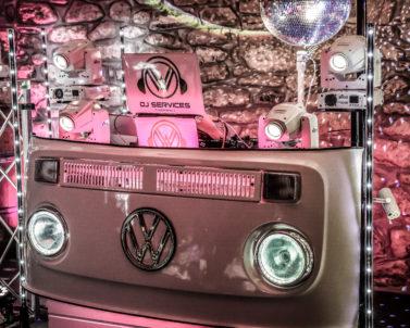 Stunning VW DJ Booth set up for Ian & Jess Wedding Party Knightor Winery with Wedding DJ Cornwall