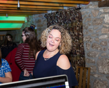The Bridesmaid enjoying the party atmosphere and first on the dance floor with Wedding DJ in Cornwall.
