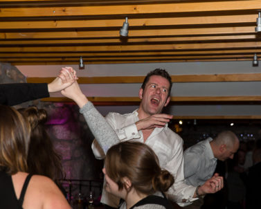 Nearly hitting the dance floor celling who said big guys cannot dance enjoying Iain and Jess wedding Party at Knightor Winery in the safe hands of DJ Services Cornwall