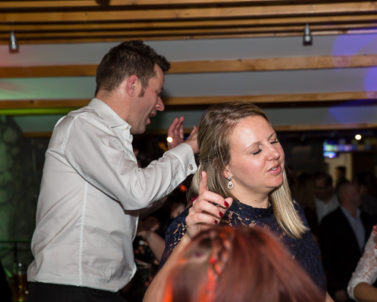 Fantastic party atmosphere celebrating Iain and Jess Wedding in the safe hands of DJ in Cornwall