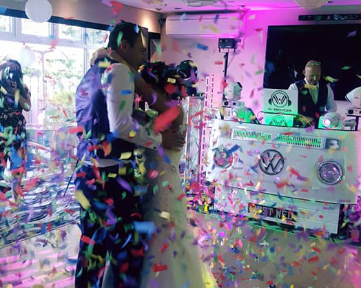Wedding Confetti shower supplied by Wedding DJ Cornwall