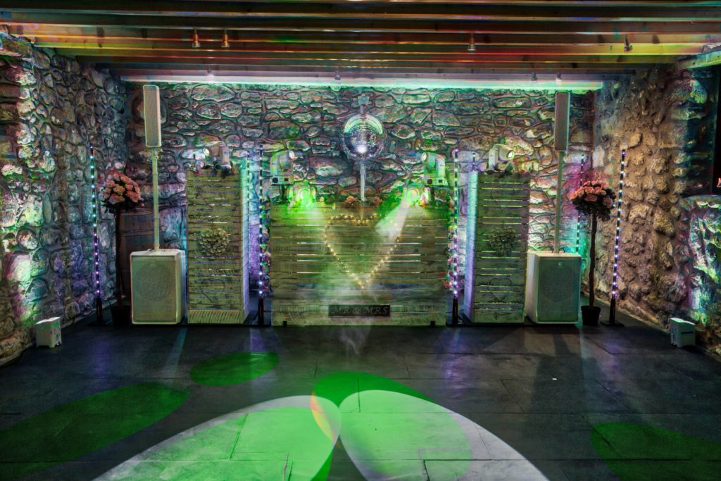 Shabby Chic DJ Booth Option with green lighting