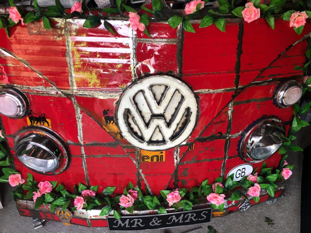 The Rustic Red VW DJ Booth up close